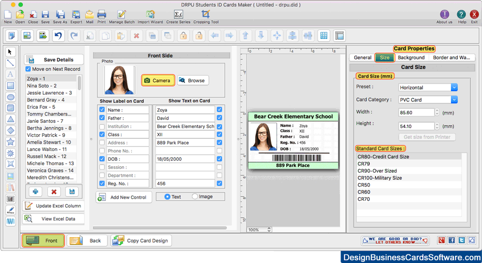 Student ID cards maker for Mac design printable ID Cards